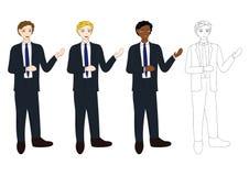 Gesetzte hübsche Geschäftsmann-Darstellung mit dem Handzeigen Volle Körper-Vektor-Illustration Stockbilder