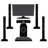 Gesetzte HIFIHaushaltsgeräte: Fernsehen und Audiogeräte 5 1 auf einem weißen Hintergrund, Illustration Stockfoto
