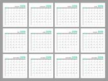 Gesetzte identische helle Kalender, 2019, Monate, flach lizenzfreie abbildung