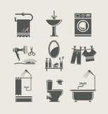 Gesetzte Ikone der Badezimmerausrüstung Lizenzfreies Stockfoto