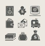 Gesetzte Ikone der Eindämmung und der Finanzierung Lizenzfreies Stockbild