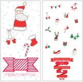 Gesetzte Ikone der frohen Weihnachten Stockfotos