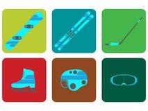 Gesetzte Ikone der Wintersportausrüstungs-Ebene Auch im corel abgehobenen Betrag Stockfotos