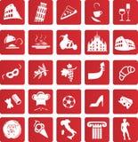 Gesetzte Ikone des Italieners Lizenzfreie Stockbilder