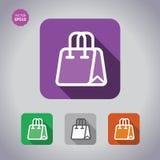 Gesetzte Ikonen der Einkaufstasche Flache Illustration mit langem Schatten Stockfoto