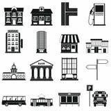 Gesetzte Ikonen der Infrastruktur stock abbildung