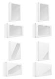 Gesetzte Ikonen der Weißbuchkartonkasten-Verpackung vector Illustration Lizenzfreie Stockfotografie