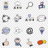 Gesetzte Ikonen des Sozialen Netzes Stockbild