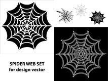 Gesetzte Ikonen des Spinnenwebs für Auslegung Lizenzfreie Stockfotos