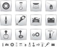 Gesetzte Ikonen des vektorautos. Selbstservice-Quadrat Stockbild