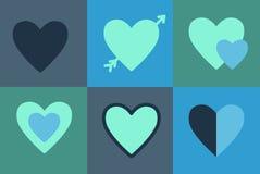 Gesetzte Ikonen des Vektors von Herzen, Symbolliebe Stockfoto
