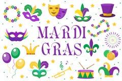 Gesetzte Ikonen Mardi Gras-Karnevals, Gestaltungselement, flache Art Sammlung, Maske mit Federn Stockbilder