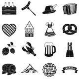 Gesetzte Ikonen Oktoberfest in der schwarzen Art Große Sammlung Oktoberfest-Vektorsymbol-Vorratillustration stock abbildung
