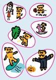 Gesetzte Illustration der Aufkleberkarikatur handgemacht Stockfoto