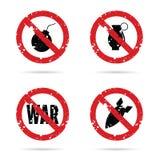 Gesetzte Illustration des roten Zeichens der Bombenwaffe Lizenzfreies Stockfoto