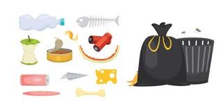 Gesetzte Illustrationen des Abfalls und des Abfalls in der Karikaturart Biologisch abbaubare, Plastik- und Müllcontainerikonen Lizenzfreies Stockfoto