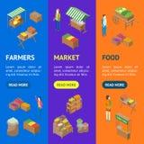 Gesetzte isometrische Ansicht Bauernhof-lokale Markt-Fahne Vecrtical Vektor Stock Abbildung