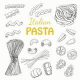Gesetzte italienische Teigwaren auf einem weißen Hintergrund Lizenzfreies Stockbild