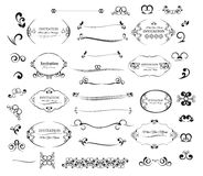 Gesetzte kalligraphische Gestaltungselemente Einladung des großen Vektors und Seitendekoration Stockbilder