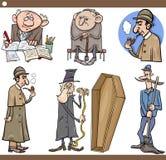 Gesetzte Karikaturillustration der Retro- Leute Lizenzfreie Stockfotografie