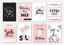 Gesetzte Karten des Valentinsgrußtagesverkaufs Kalligraphie, Beschriftung und Hand gezeichnete Gestaltungselemente Stockfotografie