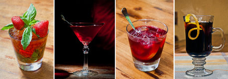 Gesetzte klassische Alkoholcocktails stockfotos
