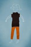 Gesetzte Kleidung in der Aktion mit Frauenzeichnung Lizenzfreie Stockfotografie