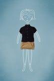 Gesetzte Kleidung in der Aktion mit Frauenzeichnung Stockfotos