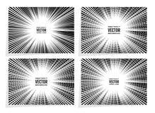 Gesetzte komische Geschwindigkeit zeichnet Radialhintergrund mit Effektenergieexplosion Geometrische Illustration von gelegentlic Stockfotos