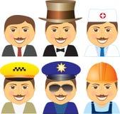Gesetzte lächelnde verschiedene Berufe des Mens Lizenzfreie Stockfotos
