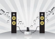 Gesetzte Lautsprecher, Verstärker und Handy der Stereoanlage Stockfoto