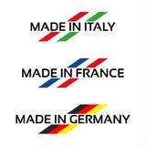 Gesetzte Logos des Vektors hergestellt in Italien, hergestellt in Frankreich und in Deutschland Stockbilder
