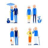 Gesetzte ?ltere Paare Gl?ckliches Ruhestandskonzept Service- und Unterhaltungsikonen eingestellt Liebe, Romanze Verh?ltnis Kaukas stock abbildung