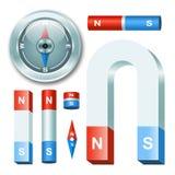 Gesetzte Magneten des Vektors mit Kompass lizenzfreie abbildung
