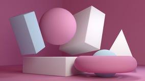 gesetzte minimale Sahnewiedergabe des hintergrundes 3d des rosa Marmors des Würfel-Kastens Stockfoto