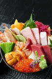 Gesetzte Mischung des Japan-Sashimis lizenzfreies stockfoto