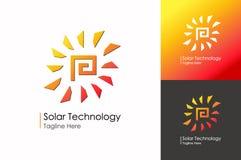 Gesetzte moderne Steigungsart des Solartechniklogos lokalisiert auf Hintergrund Stockfoto