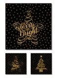 Gesetzte neues Jahr-Gruß-Karten, Briefgestaltung Vector die Illustration, die auf schwarzem Hintergrund mit goldenen Sternen und  Lizenzfreies Stockfoto