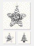 Gesetzte neues Jahr-Gruß-Karten, Briefgestaltung Vector Illustration, die gotischen Schriften, die auf weißem Hintergrund mit gol Stockfoto