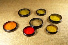 Gesetzte optische Filter für Kamera Stockfoto