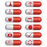 Gesetzte Pillen der medizinischen Fahne Stockfotografie