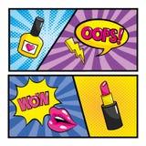 Gesetzte Pop-Art komisch mit Schw?tzchenblasenmitteilungen vektor abbildung