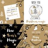 Gesetzte Postkarte des neuen Jahres und der frohen Weihnachten Stockbild