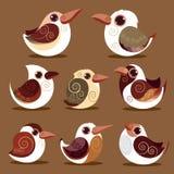 Gesetzte prähistorische Farbe der Vogelsammlung Stockbild
