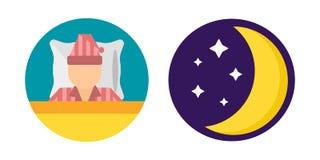 Gesetzte Pyjamas der Schlafzeit moon Ikonenvektorillustrationsbettzeichensymbol lokalisierten Traumschlafzimmerschlafenszeithaar- Stockbilder