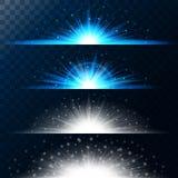 Gesetzte realistische Lichteffekte Glühender Stern Licht und Funkeln auf einem transparenten Hintergrund Glänzende magische Grenz Stockbild