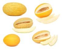 Gesetzte reife Melonen mit den Scheiben (lokalisiert) Lizenzfreies Stockbild