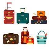 Gesetzte Reisetaschen lokalisiert auf weißer Hintergrundillustration Inkassogeschäft-Reiseverpackung, Griffreisegepäck Sommer Lizenzfreies Stockfoto