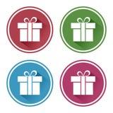 Gesetzte runde Ikone Weiße Geschenkbox auf buntem Hintergrund Vektor stock abbildung