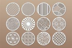 Gesetzte runde Schablone für den Schnitt Abstrakte Linie, geometrisches Muster Laser-Schnitt Stellen Sie Verhältnis1:2 ein Auch i lizenzfreie abbildung